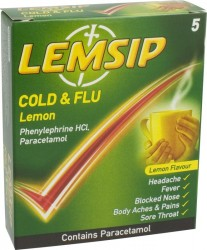 LEMSIP Cold & Flu Lemon - 5 Pack