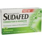 SUDAFED Congestion & Headache - 16 Capsules